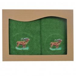 Komplet ręczników jeleń zielony
