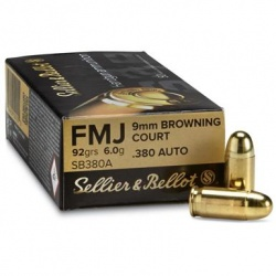 Amunicja Seller&Bellot 9mm Browning Court / 380 Auto FMJ 92grain 6 g