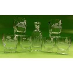 Karafka + 6 szklanek do whisky grawerowane