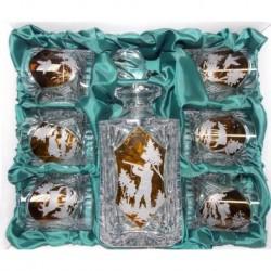 Karafka + 6 szklanek do whisky kryształ